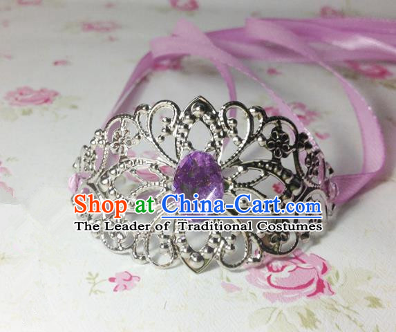 Traditional Handmade Chinese Classical Hair Accessories, Ancient Royal Highness Purple Crystal Ribbon Headband Tuinga Hairdo Crown for Men