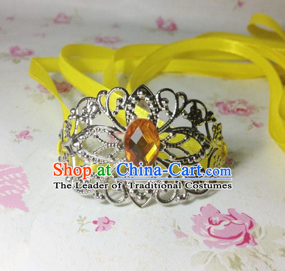 Traditional Handmade Chinese Classical Hair Accessories, Ancient Royal Highness Yellow Crystal Ribbon Headband Tuinga Hairdo Crown for Men