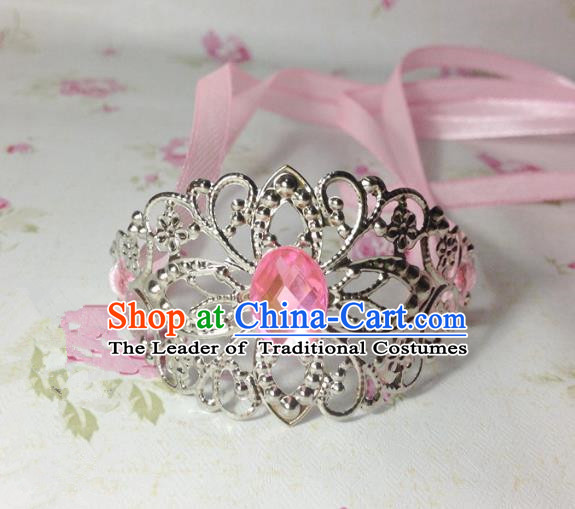 Traditional Handmade Chinese Classical Hair Accessories, Ancient Royal Highness Pink Crystal Ribbon Headband Tuinga Hairdo Crown for Men
