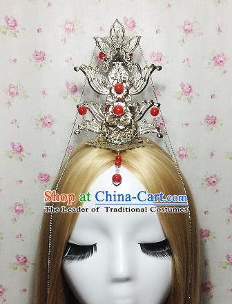Traditional Handmade Chinese Classical Hair Accessories, Ancient Royal Highness Red Beads Headband Tassel Tuinga Hairdo Crown for Men