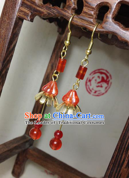 Traditional Handmade Chinese Ancient Classical Accessories Bride Hanfu Red Beads Tassel Earrings for Women