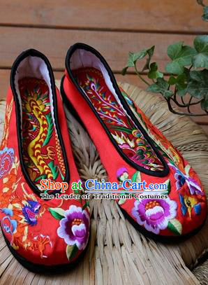 Asian Chinese Traditional Wedding Shoes Red Embroidered Shoes, China Peking Opera Embroidery Phoenix Peony Shoes Hanfu Shoes for Women