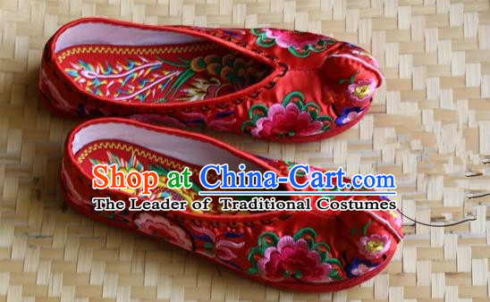 Asian Chinese Traditional Wedding Shoes Red Embroidered Shoes, China Peking Opera Embroidery Peony Become Warped Head Shoe Hanfu Shoes for Women