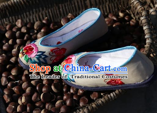 Asian Chinese Traditional Shoes Bride Grey Embroidered Shoes, China Peking Opera Handmade Embroidery Peony Shoe Hanfu Princess Shoes for Women