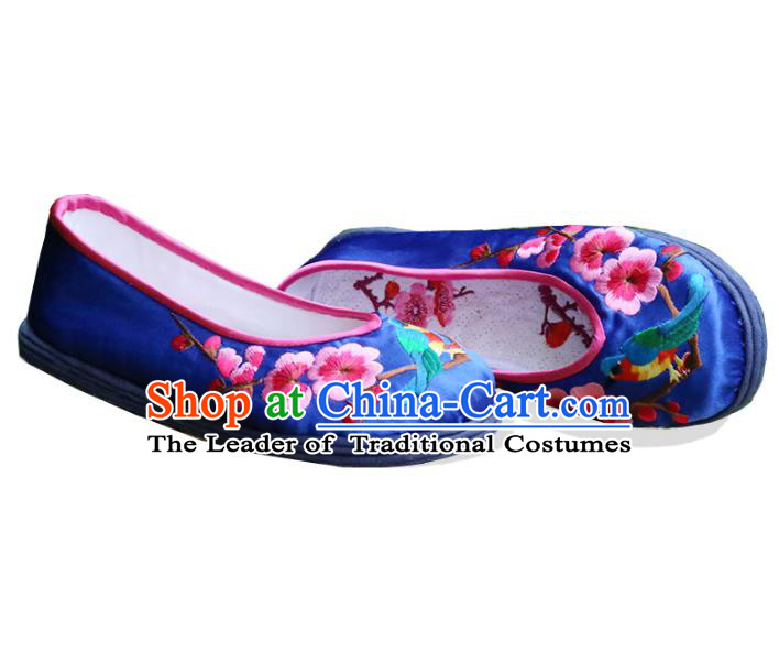 Asian Chinese Traditional Shoes Bride Blue Embroidered Shoes, China Peking Opera Handmade Embroidery Wintersweet Shoe Hanfu Princess Shoes for Women
