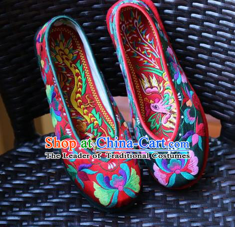 Asian Chinese Traditional Shoes Bride Embroidered Shoes, China Peking Opera Handmade Embroidery Phoenix Shoe Hanfu Princess Shoes for Women