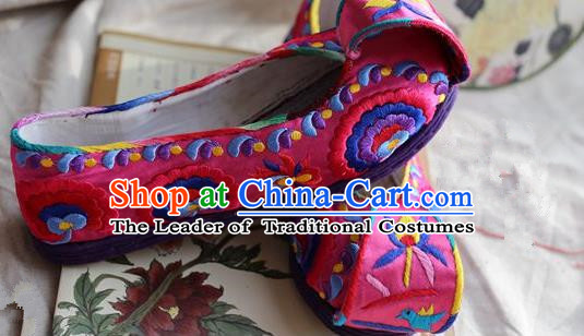 Asian Chinese Traditional Shoes Bride Pink Embroidered Shoes Become Warped Head Shoe, China Peking Opera Handmade Embroidery Lotus Shoe Hanfu Princess Shoes for Women
