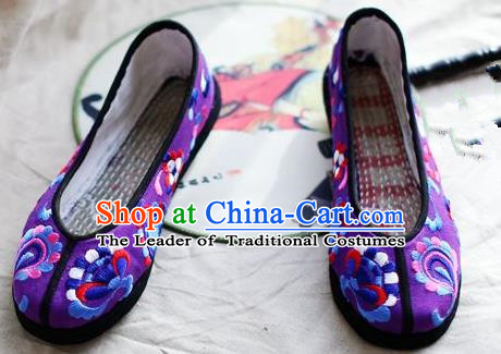 Asian Chinese Traditional Shoes Bride Xiuhe Suit Purple Embroidered Shoes, China Peking Opera Handmade Embroidery Shoe Hanfu Princess Shoes for Women