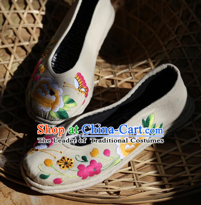 Asian Chinese Traditional Shoes Grey Embroidered Shoes, China Peking Opera Handmade Strong Cloth Soles Embroidery Shoe Hanfu Princess Shoes for Women