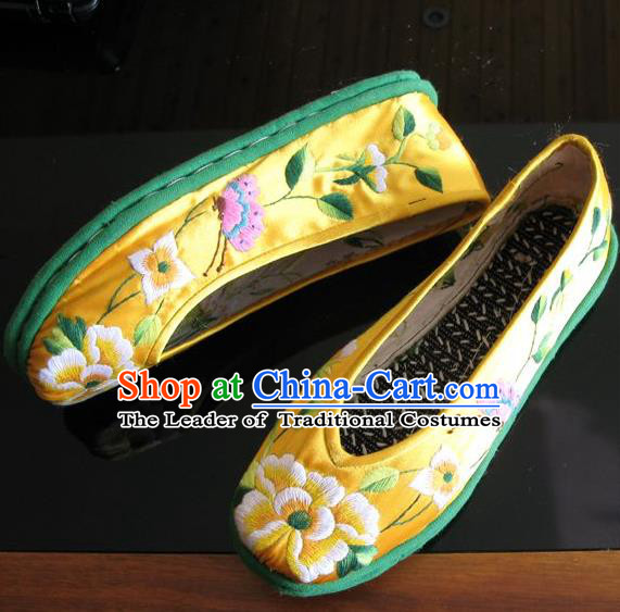 Asian Chinese Traditional Shoes Yellow Embroidered Shoes, China Peking Opera Handmade Strong Cloth Soles Embroidery Shoe Hanfu Princess Shoes for Women