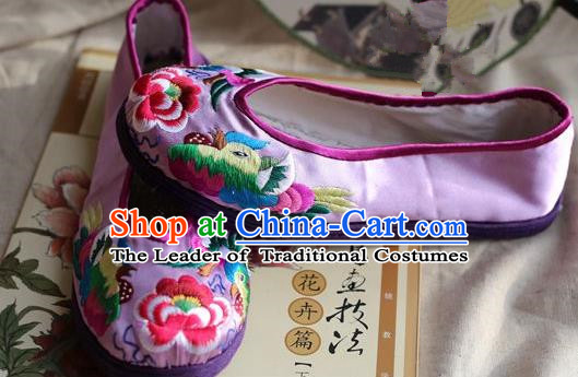 Asian Chinese Traditional Shoes Lilac Embroidered Shoes, China Peking Opera Handmade Embroidery Mandarin Duck Shoe Hanfu Princess Shoes for Women
