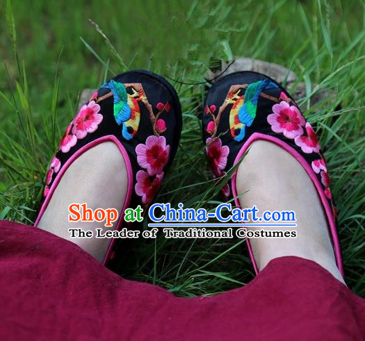 1e2f38b17ed871 Asian Chinese Traditional Shoes Black Embroidered Shoes
