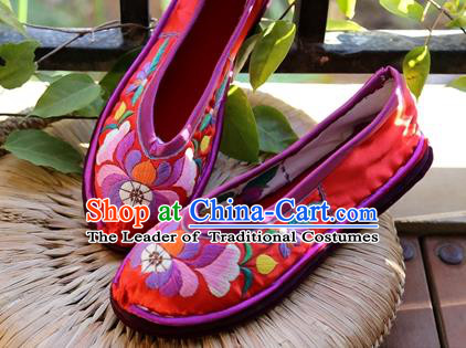 Asian Chinese Traditional Shoes Red Embroidered Shoes, China Peking Opera Handmade Embroidery Shoe Hanfu Princess Shoes for Women