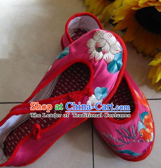 Asian Chinese Traditional Shoes Wedding Bride Rosy Embroidered Shoes, China Peking Opera Handmade Embroidery Lotus Hanfu Shoes for Women