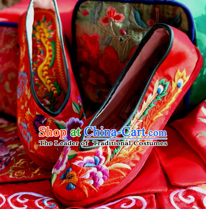 Asian Chinese Traditional Shoes Wedding Bride Red Embroidered Shoes, China Peking Opera Handmade Embroidery Phoenix Hanfu Shoes for Women