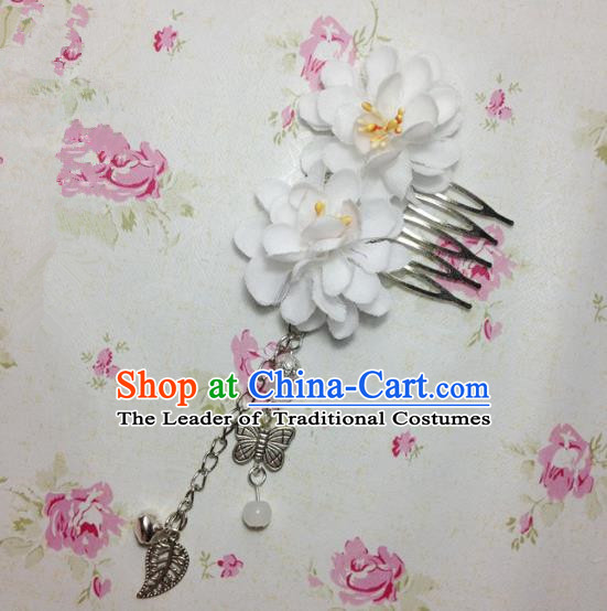 Traditional Chinese Ancient Classical Hair Accessories Hanfu White Flowers Hair Comb Bride Butterfly Tassel Hairpins for Women