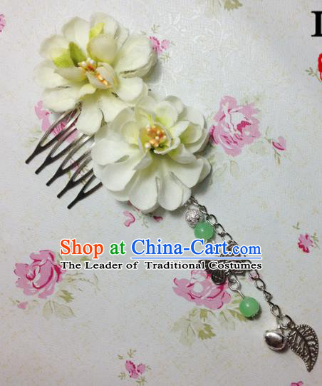 Traditional Chinese Ancient Classical Hair Accessories Hanfu Green Flowers Hair Comb Bride Butterfly Tassel Hairpins for Women