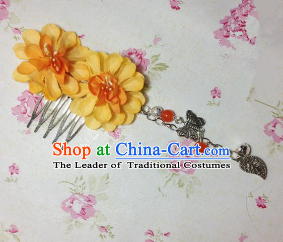 Traditional Chinese Ancient Classical Hair Accessories Hanfu Orange Flowers Hair Comb Bride Butterfly Tassel Hairpins for Women