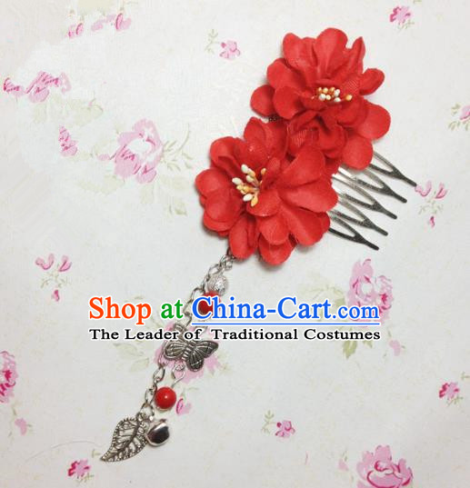 Traditional Chinese Ancient Classical Hair Accessories Hanfu Red Flowers Hair Comb Bride Butterfly Tassel Hairpins for Women