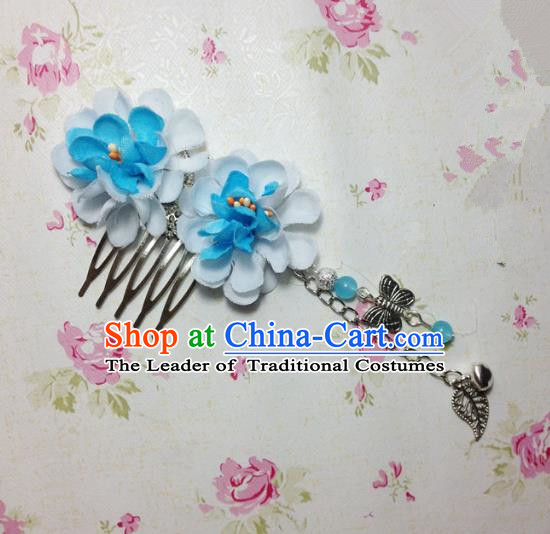 Traditional Chinese Ancient Classical Hair Accessories Hanfu Blue Flowers Hair Comb Bride Butterfly Tassel Hairpins for Women