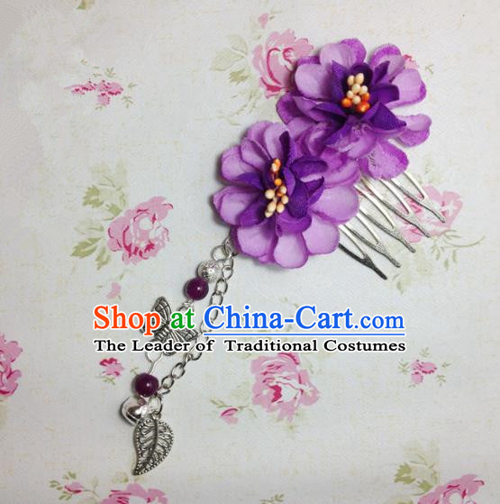 Traditional Chinese Ancient Classical Hair Accessories Hanfu Purple Flowers Hair Comb Bride Butterfly Tassel Hairpins for Women