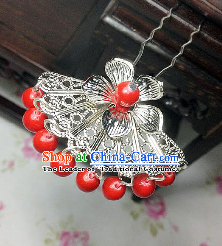Traditional Chinese Ancient Classical Hair Accessories Hanfu Red Beads Tassel Hair Clip Bride Hairpins for Women
