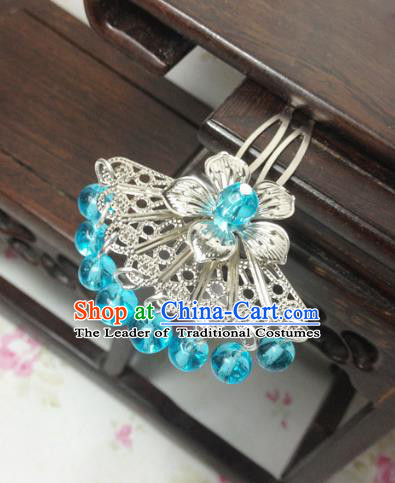 Traditional Chinese Ancient Classical Hair Accessories Hanfu Blue Beads Tassel Hair Clip Bride Hairpins for Women
