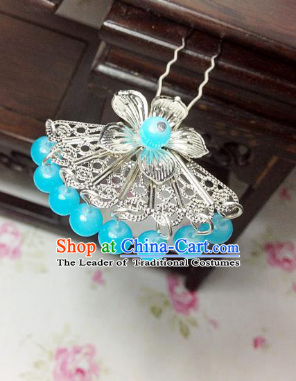 Traditional Chinese Ancient Classical Hair Accessories Hanfu Lake Blue Beads Tassel Hair Clip Bride Hairpins for Women