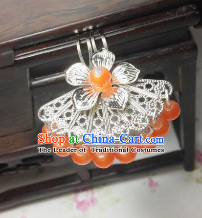 Traditional Chinese Ancient Classical Hair Accessories Hanfu Orange Beads Tassel Hair Clip Bride Hairpins for Women