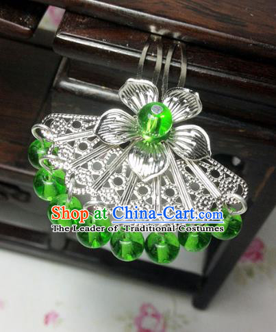Traditional Chinese Ancient Classical Hair Accessories Hanfu Green Beads Tassel Hair Clip Bride Hairpins for Women