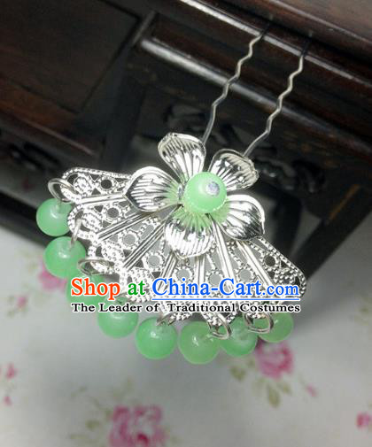 Traditional Chinese Ancient Classical Hair Accessories Hanfu Light Green Beads Tassel Hair Clip Bride Hairpins for Women