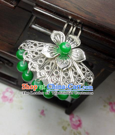 Traditional Chinese Ancient Classical Hair Accessories Hanfu Deep Green Beads Tassel Hair Clip Bride Hairpins for Women