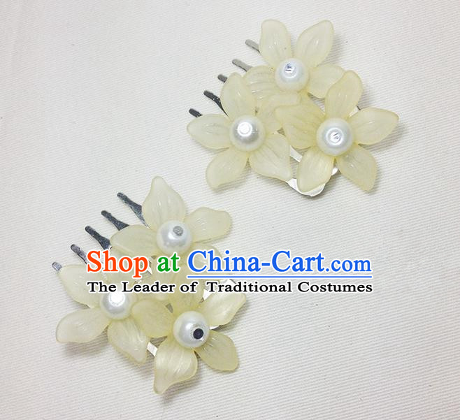 Traditional Chinese Ancient Classical Hair Accessories Hanfu Yellow Flowers Hair Comb Bride Hairpins for Women