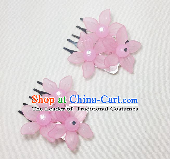 Traditional Chinese Ancient Classical Hair Accessories Hanfu Pink Flowers Hair Comb Bride Hairpins for Women