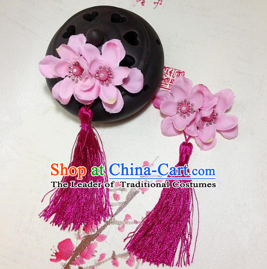 Traditional Chinese Ancient Classical Hair Accessories Hanfu Flowers Rosy Tassel Hair Stick Bride Hairpins for Women
