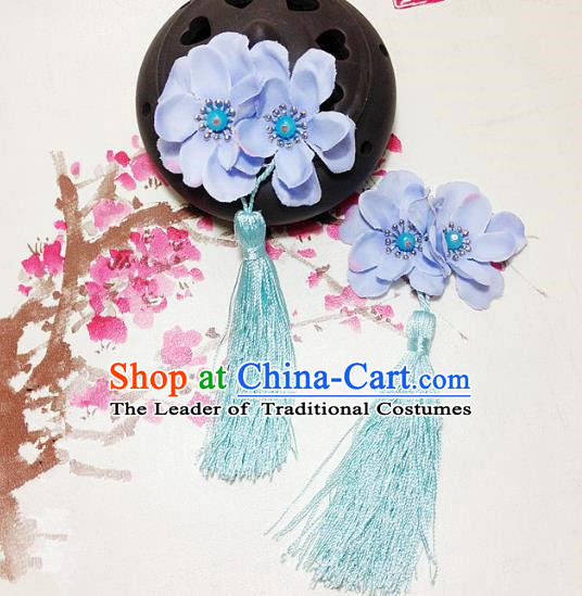 Traditional Chinese Ancient Classical Hair Accessories Hanfu Blue Flowers Tassel Hair Stick Bride Hairpins for Women