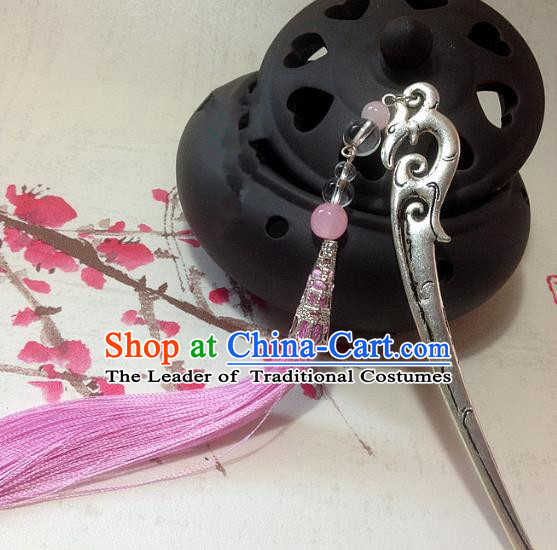 Traditional Chinese Ancient Classical Hair Accessories Hanfu Tassel Hair Stick Bride Hairpins for Women