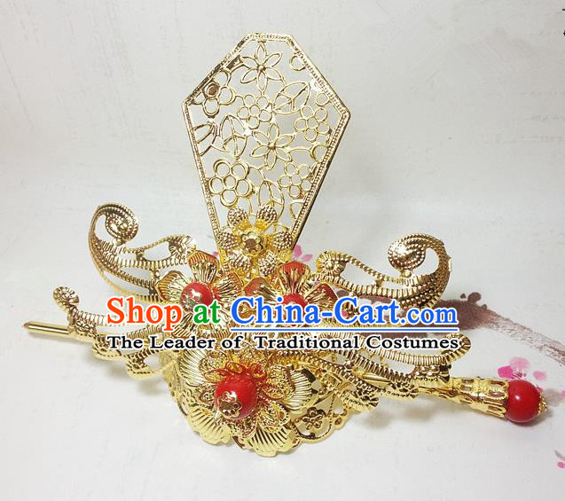Traditional Handmade Chinese Classical Hair Accessories, Ancient Royal Highness Headband Golden Tuinga Hairdo Crown for Men