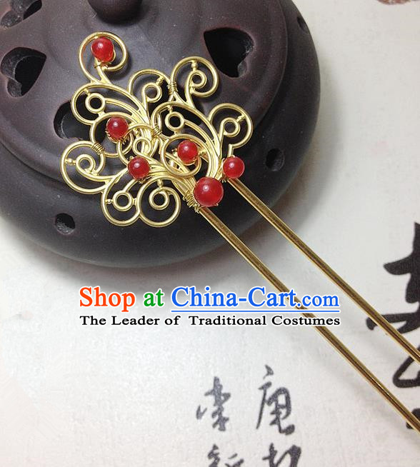 Traditional Chinese Ancient Classical Hair Accessories Hanfu Red Chalcedony Hair Clip Bride Hairpins for Women