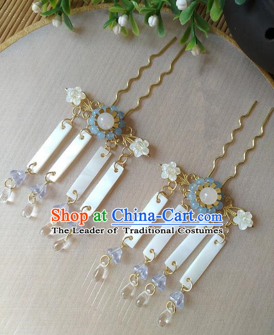 Traditional Chinese Ancient Classical Hair Accessories Hanfu Shell Tassel Hair Clip Bride Hairpins for Women