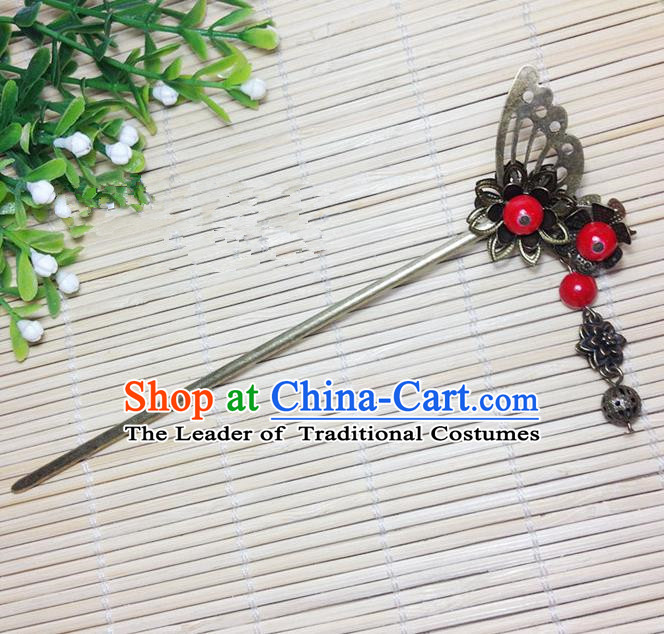 Traditional Chinese Ancient Classical Hair Accessories Hanfu Butterfly Tassel Hair Clip Bride Hairpins for Women