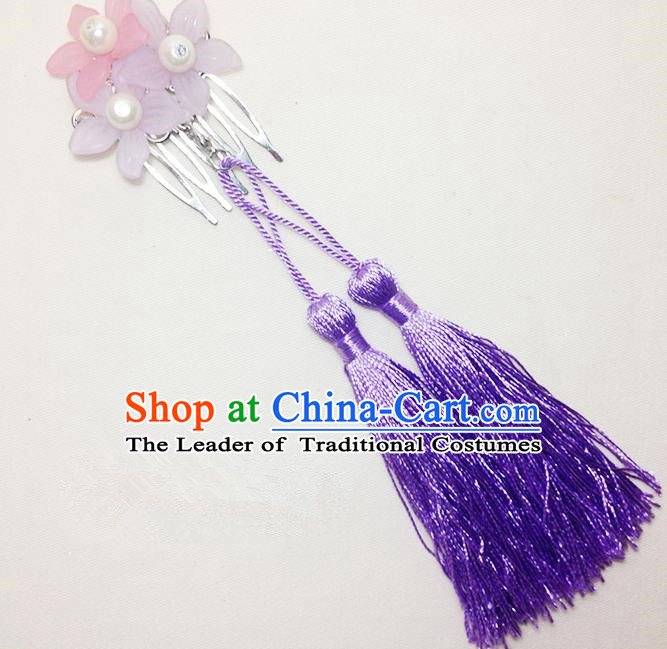 Traditional Chinese Ancient Classical Hair Accessories Hanfu Cheongsam Hair Comb Bride Purple Tassel Hairpins for Women