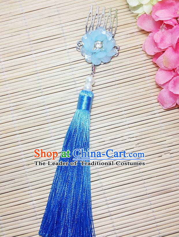 Traditional Chinese Ancient Classical Hair Accessories Hanfu Cheongsam Hair Comb Bride Light Blue Tassel Hairpins for Women