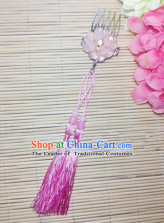 Traditional Chinese Ancient Classical Hair Accessories Hanfu Cheongsam Hair Comb Bride Light Pink Tassel Hairpins for Women