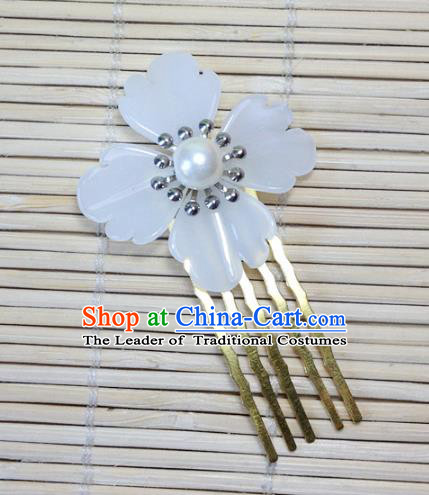 Traditional Chinese Ancient Classical Hair Accessories Hanfu Hair Comb White Flower Hairpins for Women
