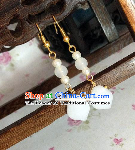 Traditional Handmade Chinese Ancient Classical Accessories Bride Hanfu White Beads Tassel Earrings for Women