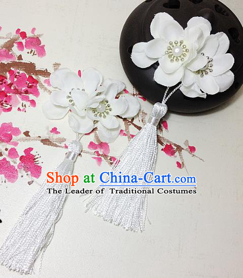 Traditional Chinese Ancient Classical Hair Accessories Hanfu White Flowers Tassel Hair Stick Bride Hairpins for Women