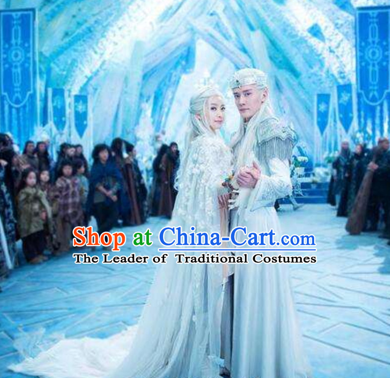 Ice Fantasy Wedding Dresses Hanfu Style Costumes Complete Set for Men and Women