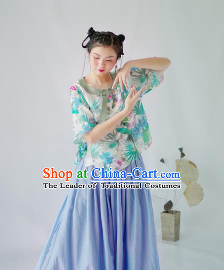 Asian China National Costume Hanfu Slant Opening Printing Flowers Green Qipao Blouse, Traditional Chinese Tang Suit Cheongsam Shirts Clothing for Women