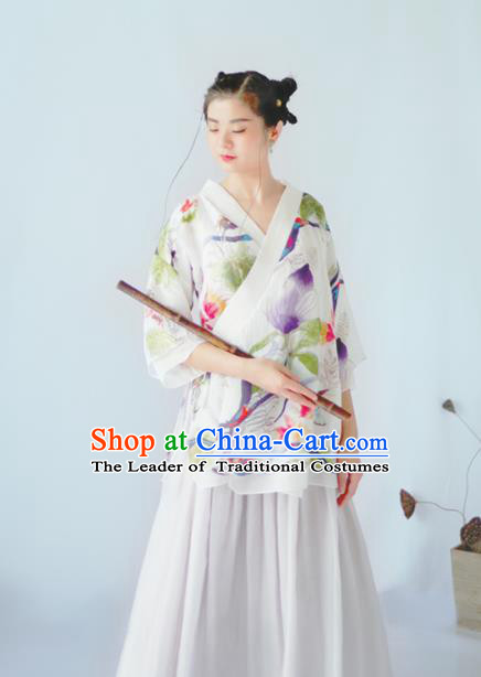 Asian China National Costume Hanfu Slant Opening Printing Flowers White Qipao Blouse, Traditional Chinese Tang Suit Cheongsam Shirts Clothing for Women